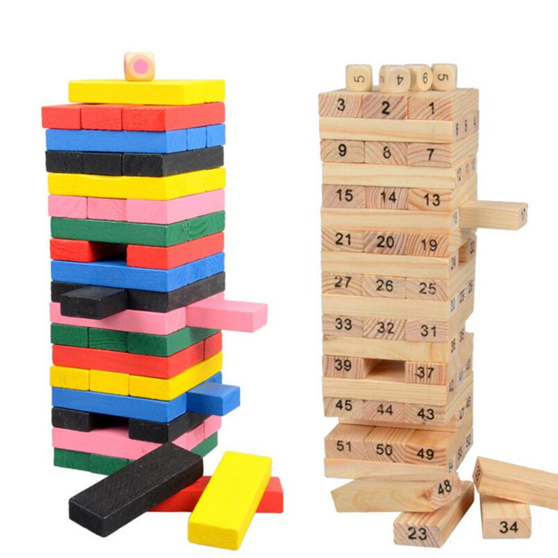 48pcs Wooden Donimo Blocks Toy Layers Piles Stacked High Pumping Bricks Educational Toys Wood Board Game Piles Toys Kids Gifts