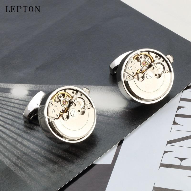 Newest Luxury Functional Watch Movement Cufflinks for Mens Lepton Steampunk Gear Watch Mechanism Cuff links Relojes