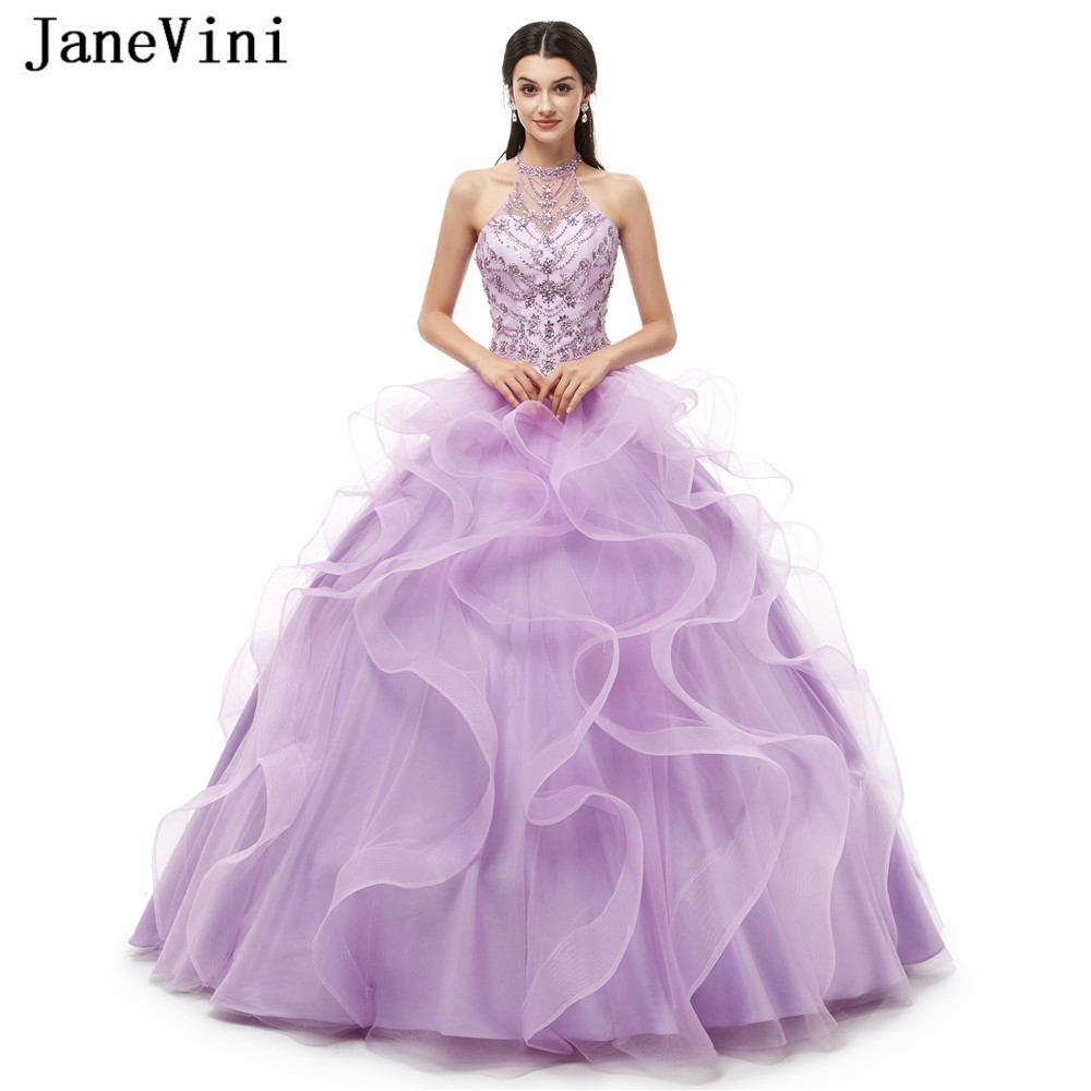 JaneVini luxe princesse robe de bal lilas Quinceanera robes licou lourd perlé gonflé Tulle bal robes de bal robes Dulces 16