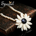 Special New Fashion Sea Shell Necklaces & Pendants Natural Pearl Onyx Maxi Flower Necklace Fine Jewelry Gifts for Women XL160301