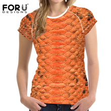 FORUDESIGNS Women 3D Leopard Print T shirt Womens t-shirt Vogue Bright Color T-shirt Femme Ladies Casual t Snakeskin Kpop
