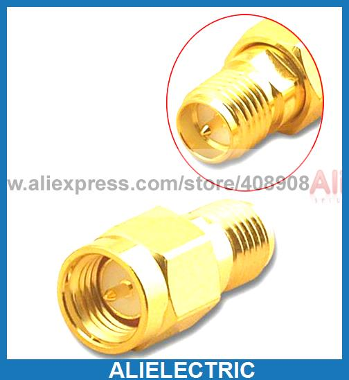 50pcs Wholesale Gold Plated Copper RP SMA Jack to SMA Plug RF Coaxial Adapters mini electric heaters red handy air heater warm air blower office home desktop warm fan heater for warm winter heating device