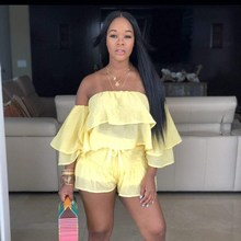 купить Sexy Cascading Ruffle Casual Two Piece Set Women Summer Slash Neck Ruffles Sleeve Shorts Suits Crop Top Solid Outfits онлайн