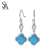 SILVERAGE Real 925 Sterling Silver Fine Jewelry Blue Lucky Four Leaf Clover Drop Dangle Earrings 2017 Hot Sale
