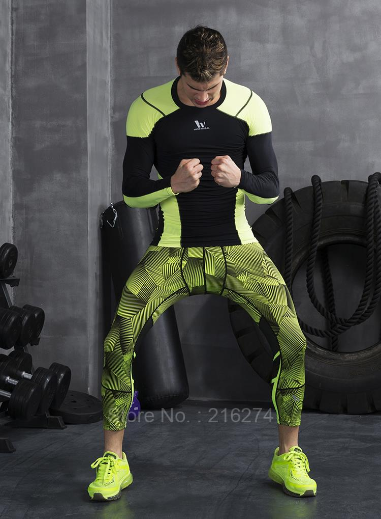 631b80160a381e Mens compression 3/4 pants sports jogger jogging running tights basketball gym  pants fitness exercise skinny leggings trousers-in Running Pants from Sports  ...