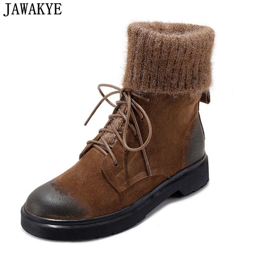 JAWAKYE Winter vintage Women Motorcycle shoes platform flat heel martin botas knitted worm wool Snow Boots Ankle Boots for women new 2016 brand platform high heel single shoes vintage women motorcycle boots martin boots size 35 39 free shipping 367