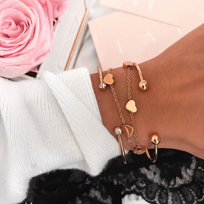 Mavis Hare Rose Gold 7 Heart Love Chain Bracelet with Crystal Cuff Bangle and Ball Cuff Bangle Stainless Steel Bracelet & bangle