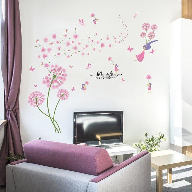 Online Shop [SHIJUEHEZI] roze Paardebloem Muurstickers Bloem Angel ...