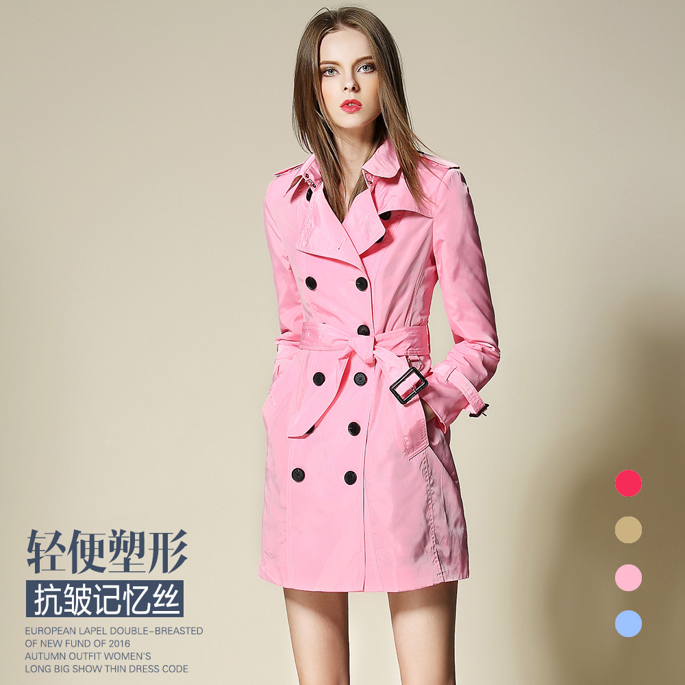 2018 New Fashion Women's autumn thin coat long   Trench   branded button with sashes Overcoat anti-wrinkle classic outfit female