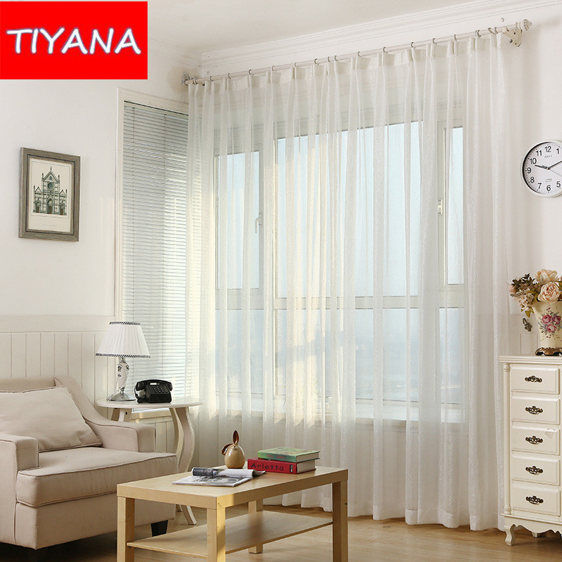 White Solid Curtain Yarn For Living Room Silver Thread Drapes Tulle Curtains Finished Curtain Sheer For Balcony Bedroom AG093&20