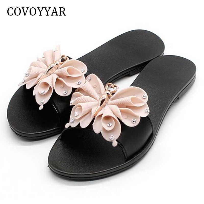 COVOYYAR Lovely Bow Women Slides Black Home Outside Flat Beach Shoes Summer  Rhinestone Plastic Jelly Slippers 573c005a8735