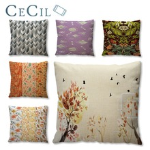 Cecil Trees Leaves Print Pillow Cushion Cover 45*45cm Comfortable Home Sofa Car Case Lumbar Pillowcase Decorative