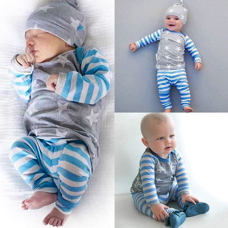 newborn baby boy infant girl winter clothes set star print tops striped pants and hat baby. Black Bedroom Furniture Sets. Home Design Ideas