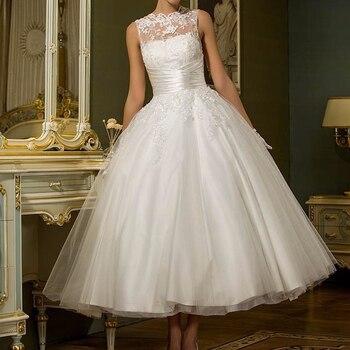 Vestido de boda de longitud de té de marfil 2019 encaje de cuello alto apliques plisados tul satén forro vestidos para novia elegantes Vintage