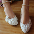 White Pearls decration lace wedding shoes bride handmade flower floral bridesmaid thin heels pumps