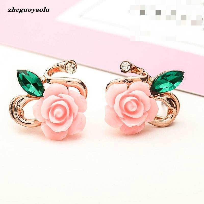 גרסה קוריאנית של ליידי רוז פרח שרף רוז פרח עגילי סחר חוץ חדש אוזן תכשיטים סיטונאי פרח עגילים