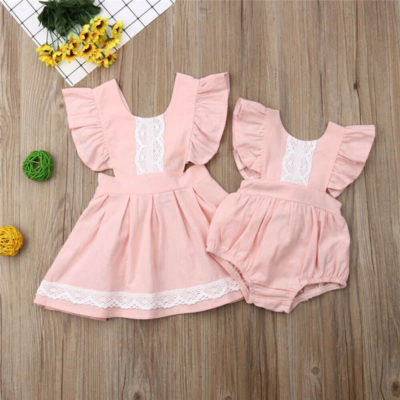Matching Little/Big Sister Clothing Girls Dress Sleeveless Lace Romper Outfit Family Clothes Lace Kids Dress Family Look Clothes