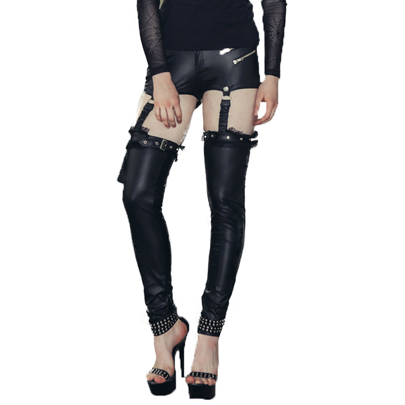 Punk Womens Stretch Pu Leather High Waist Pants Sexy Skinny Pocket Steampunk Gothic Shorts With Leg Long Trousers