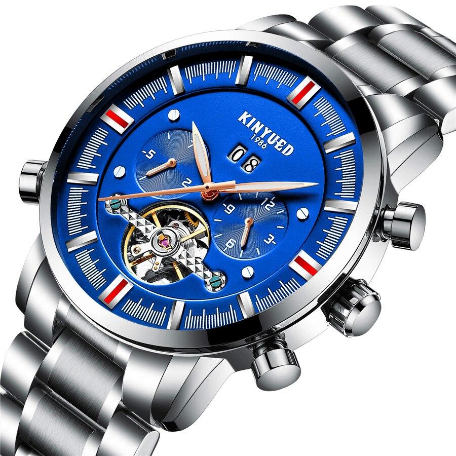 цена на KINYUED Luxury Brand Men's Watches Skeleton Luminous Waterproof Automatic Stainless Mechanical Watch Steel Clock erkek kol saati