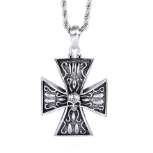 Wholesale new fashion vintage jewelry accessories skull cross titanium steel personality men / male pendant & necklace gift