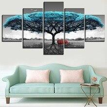 5 gab. Parks ainava zils koks sols bildesAugstas kvalitātes audekls drukāt plakātu mūsdienu dzīvojamā istaba sienas mākslas mājas dekoratīvie