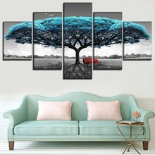 5 stuk park landschap blue tree bench pictureshigh kwaliteit canvas poster voor moderne woonkamer wall art home decoratieve