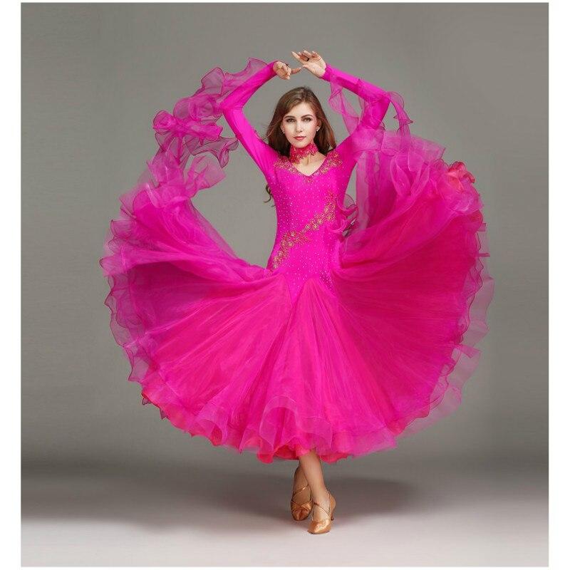 Modern Dance Skirt Lady Ballroom Dance Dress New Diamond Dancing Custome Stage Ballroom Suit Long Sleeve