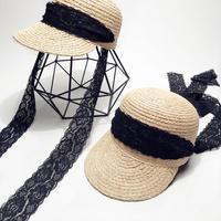 أحزمة الرباط جميلة قبعات النساء الصيف الجديدة الأزياء الخاصة سترو القبعات النسائية أسود أبيض الدانتيل حزام تصميم خاص هدية فتاة