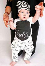 2017 Newborn Baby Boys 2-piece Clothing Outfits Letter Boss Printed T-shirt+Geometric Pattern Pants Clothes set 0-24M