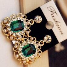 korean crystal fringe earrings for women big earring with stones Geometric statement drop green