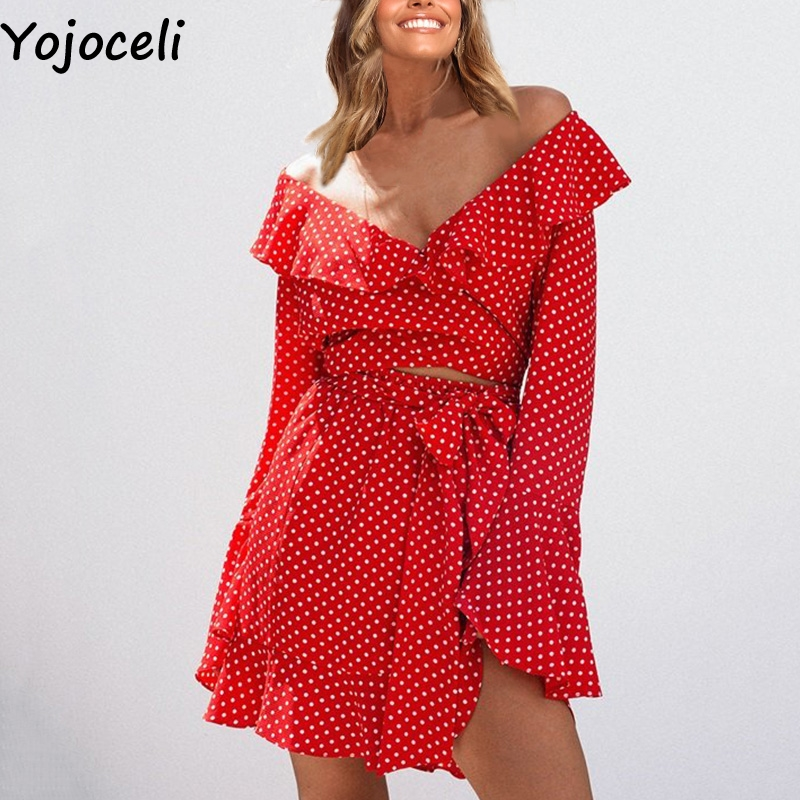 Yojoceli Ruffle Off Shoulder Short Plaid Sexy Dress Women Flare Sleeve Sashes Party Two Pieces Dress Boho Beach Summer Dress