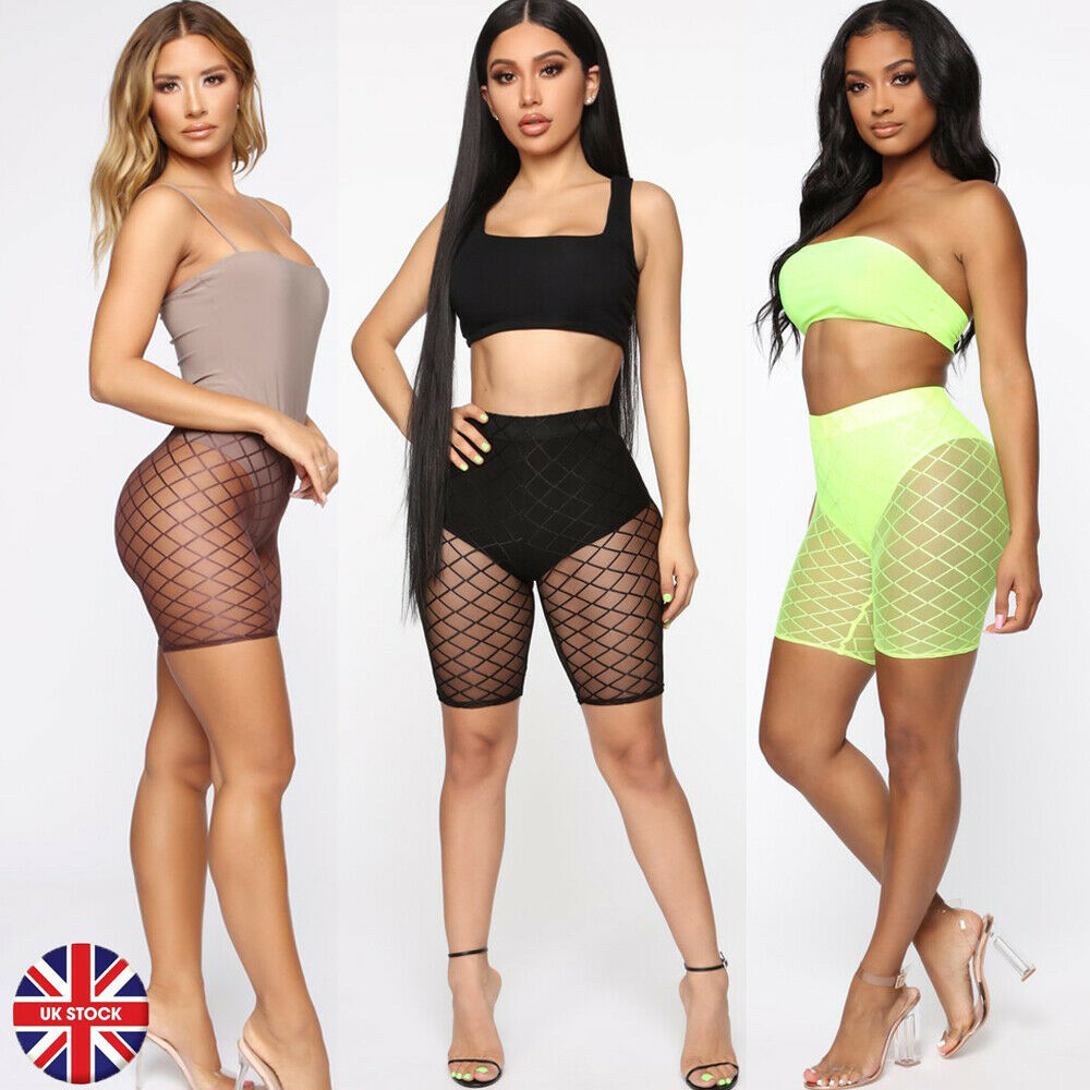 2019 New Sexy Women's  Fishnet Pants See Through Trousers Tight Sheer Skinny Stretchy Short Pants