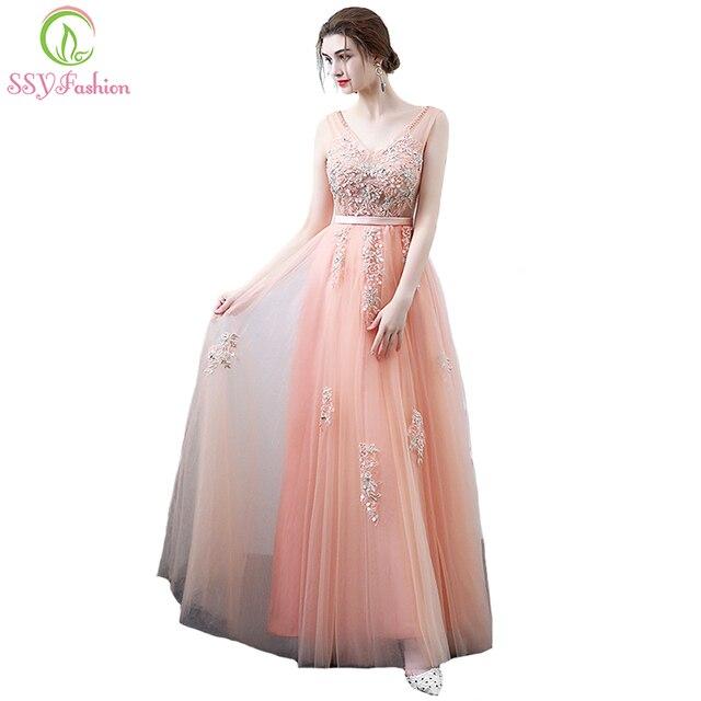 Ssyfashion nuevo Sweet Peach color elegante vestido de noche de la ...