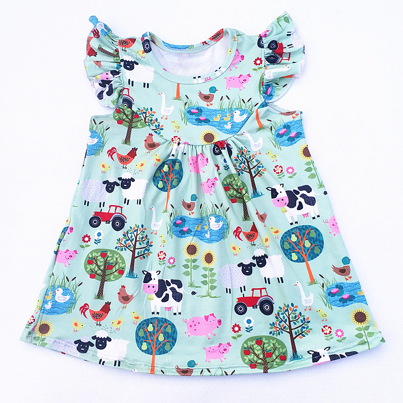 2018 Fashion Girl Summer Farm Dress Children Carton Pig Goots Cock Sheep Chicken Printed Girl Milk Silk Pearl Dress