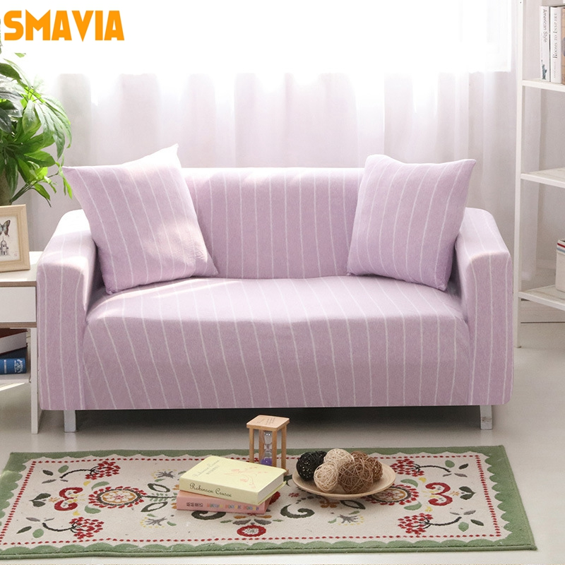 1 pc Stripe Elasticity Stretch Sofa Cover 100%Cotton Knitted Fabrics Slipcovers Tight Wr ...