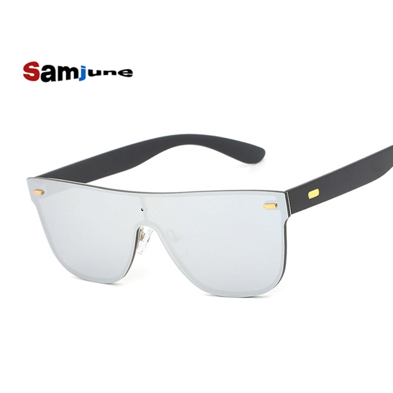 Samjune Mirror Sunglasses Women Brand Square Reflection Sunglasses Rivet 2017 New Fashion Rimless Shades Lunette Femme reflection