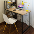 Simple desktop home computer desk with bookcase
