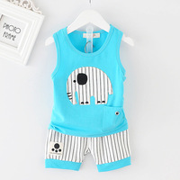 Korean Kids Summer Wear Baby Set Elephant Print Vest And Striped Shorts Suit 2017