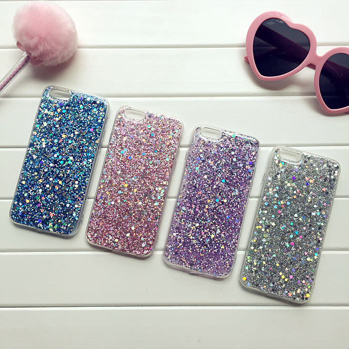CreatValu Luxury Bling Glitter Soft TPU Silicone Phone Case Cover For Apple iPhone 5 5s SE 6 6s plus 7 8 plus X cases +