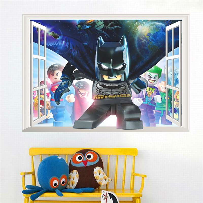 cartoon hero batman wall decals for kids rooms bedroom decor 3d effect window wall stickers pvc posters diy mural art boys gift