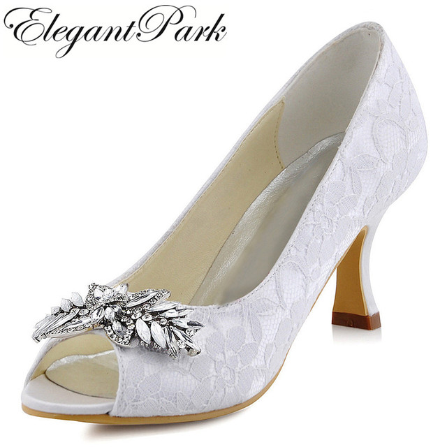 a3c2575a3e Woman Shoes Wedding White Ivory Mid Heel Comfort Peep Toe Rhinestone Lace  Lady Bride Bridesmaid Bridal Prom Evening Pumps HP1538