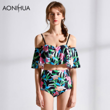 AONIHUA Bikini  2018 Sexy Women Set Floral Print Crop Top Swimwear Bathing Surf Suits Female Swim wear