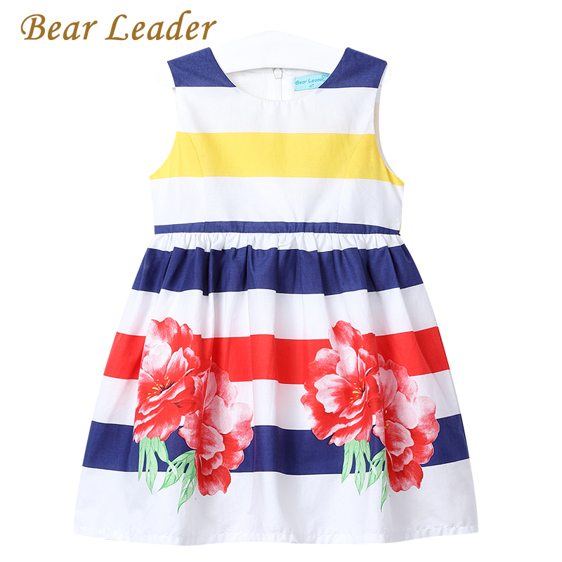 Bear Leader Girls Dress 2018 New Summer Sleeveless Girls Clothes Colorful Strip Floral Design Children Clothing For 3-7 Years bear leader girls dress 2017 new summer style printing girls clothes sleeveless rose floral design for girls princess dress 3 8y