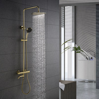 Brushed Gold Color Bathroom Thermostatic Control Shower Faucet Set Wall Mounted Round Design Rain Shower Head Brass Material