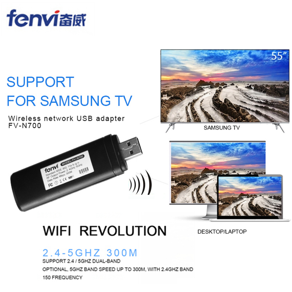 Fenvi Original Trådlöst WLAN LAN USB för Samsung TV Nätverkskort WiFi Dongle Adapter 5G 300Mbps Smart TV WIS12ABGNX WIS09ABGN PC