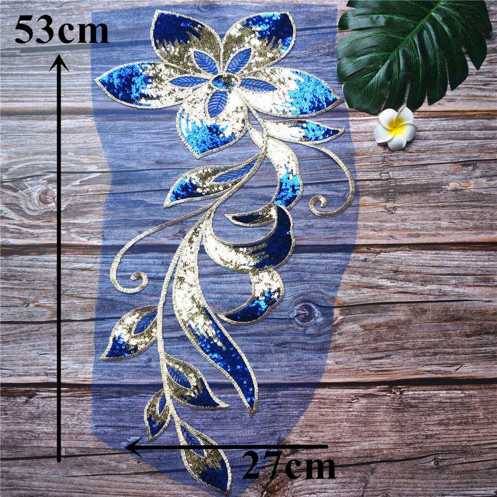 Apliques de vestido de novia bordados de tela de encaje con lentejuelas doradas azules, parches de malla para coser para decoración de vestido DIY