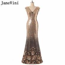 881cf262bfbd JaneVini Luxury Gold Paillettes madre della Sposa Abiti Abito Cap Sleeve  Rosa Modello Sexy V-Neck Backless Della Sirena Abito Da.