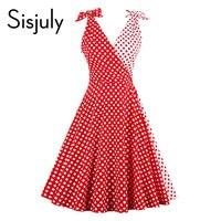 Sisjuly Women Vintage Dress 1950s Red Polka Dots Patchwork Retro Dresses Bow Decoration Sleeveless Elegant Fashion