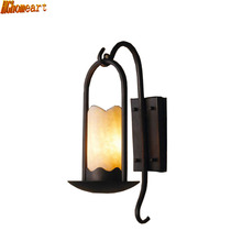 American Country Wall Lamp Retro Background Wall Light Simple Ideas Pastoral Nordic Stairs Aisle Iron Marble Living Room(China)