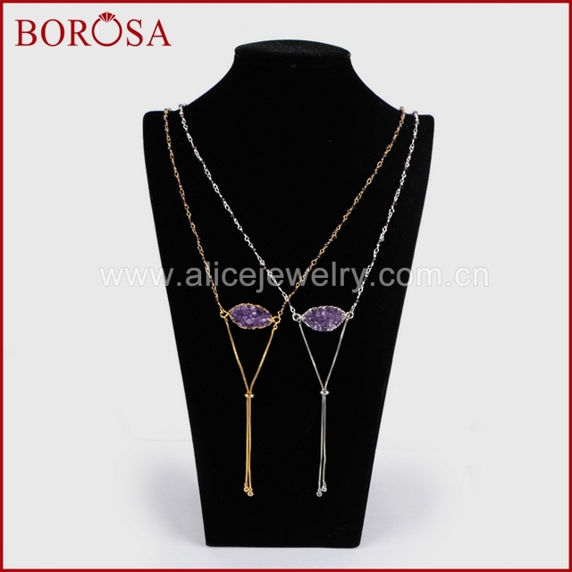 5b0307618 BOROSA Wholesale Drusy Pendant Chain Necklace Gold Electroplated Marquise  Natural Purple Crystal Druzy Necklace G1255/